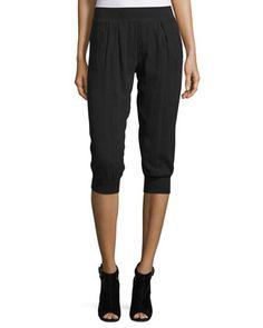 Cotton+Gauze-Knit+Capri+Pants,+Black+by+ATM+Anthony+Thomas+Melillo+at+Neiman+Marcus.
