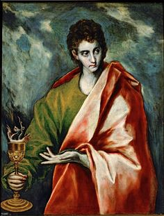 Saint John the Evangelist by El Greco.Title: Saint John the Evangelist Artist: El Greco Owner: Museo del Prado Country of Origin: Spain Date of Creation: 1598 AD Spanish Painters, Spanish Artists, San Juan Evangelista, St John The Evangelist, Art Gallery, Canvas Prints, Art Prints, Religious Art, Art History