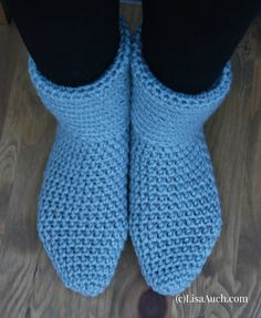 Easy Free Crochet Slipper Boot Pattern by LisaAuch