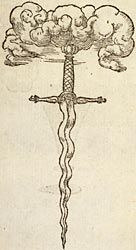A sword with a curvy blade, pointed downward, with clouds above