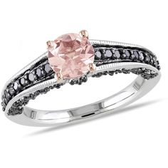1/3 CT Black Diamond TW and 4/5 CT TGW Morganite Silver and Black Rhodium Ring
