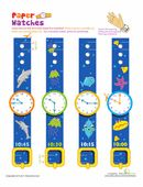 These adorable paper watches are fun to wear, and help kids practice telling time, too. Clock Worksheets, 1st Grade Math Worksheets, First Grade Math, Paper Watch, Parents As Teachers, Telling Time, Busy Book, Free Coloring Pages, Classroom Activities