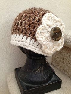 brown and white winter hat
