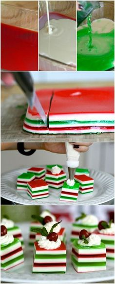 Holly Jolly Jelly Shots - my mother makes these every year (non-alcoholic) and they're not only delicious, but so cute! But they can be Holly Jolly Jelly Shots with alcohol is you would like! Just think of the colors! Noel Christmas, Christmas Goodies, Christmas Treats, Holiday Treats, Holiday Recipes, Christmas Shots, Christmas Recipes, Fancy Recipes, Cute Christmas Desserts