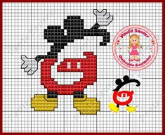 Mono do Mickey Disney Stitch, Mickey E Minie, Mickey Mouse, Disney Crafts, Disney Art, Crochet Letters, Disney Alphabet, Embroidery Alphabet, Cross Stitch Letters
