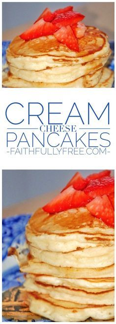 Cream Cheese Pancakes Recipe. Easy pancake recipe the whole family will love. Pancake recipes you can make with kids. Back to school breakfast ideas.