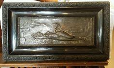 Relief Bild Kupfer oder Bronze auf schönem Rahmen Jugendstil