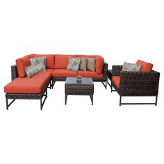 Swap around the pieces in the TK Classics Barcelona 8 Piece Wicker Outdoor Patio Conversation Set to setup your backyard area just how you like. L Shaped Sofa, Corner Chair, Armless Chair, Outdoor Furniture Sets, Outdoor Decor, Cushion Fabric, Club Chairs, Foot Rest, End Tables