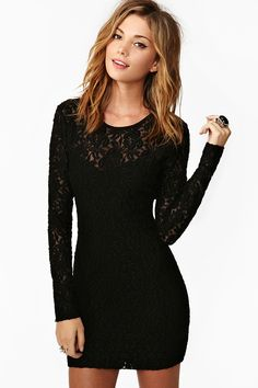 Lace In Point Black Lace Shift Dress | Sleeve, Dress lace and Cute ...