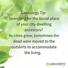 Something to consider for your city dwelling ancestors.  #familyhistory #cemeteries #USHistory #History #ancestry #familytree #ancestors #burial #graves #FindAGrave