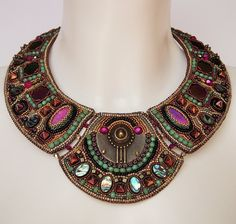 Bead embroidery necklace 1 by Priscillascreations.deviantart.com on @DeviantArt