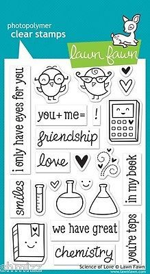 Lawn Fawn Science of Love Stamp Set Acrylic Stamp Set