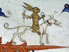 bunny hunter Pontifical of Guillaume Durand, Avignon, before 1390. Paris, Bibliothèque Sainte-Geneviève, ms. 143, fol. 165r