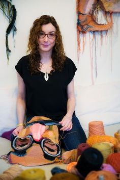 Jo Hamilton, surrounded by her medium / Photo by Joni Kabana Form Crochet, Crochet Art, Learn To Crochet, Crochet Accessories, Accessories Jewellery, Knit Art, Portland Oregon, Artist At Work, Fiber Art