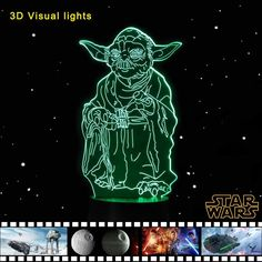 3D Lampade USB Touch Night Light Star Wars Yoda Table Desk Lamp
