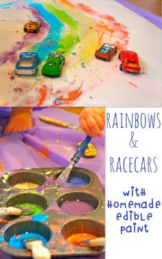 Guest Post at Teaching Mama: rainbows & racecars {with homemade edible paint} - Wildflower Ramblings Rainbow Activities, Toddler Activities, Preschool Activities, Color Activities, Outdoor Activities, Fun Arts And Crafts, Crafts For Kids, Cars Preschool, Edible Paint