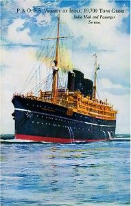 An poster sized print, approx (other products available) - SS Viceroy of India - P&O Line - India Mail and Passenger Service. Date: circa - Image supplied by Mary Evans Prints Online - Poster printed in the USA Vintage Travel Posters, Vintage Postcards, Charles Trenet, Advertising Poster, Ship Art, Sailing Ships, Photographic Prints, Ocean, India