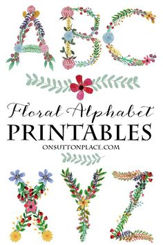 Floral Alphabet Printables from On Sutton Place   Perfect for framed monograms, banners, cards, crafts and more!