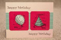 Happy Birthday card using tim holtz mini blueprint stamps