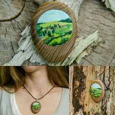 (based on Artista Toscana) Handmade. Polymer Clay Painting, Polymer Clay Pendant, Polymer Clay Jewelry, Landscape Art, Landscape Paintings, Polymer Clay Embroidery, Clay Texture, Polymers, Clay Crafts