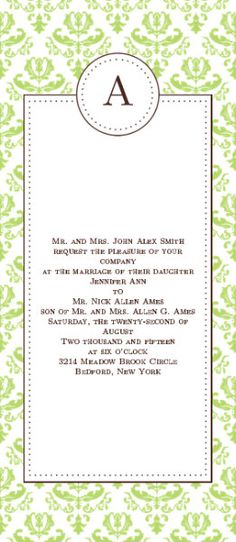 The Formal Damask is a vintage themed tea length wedding invitation with couples initial.