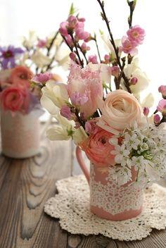Pretty flower arrangement for ひな祭り