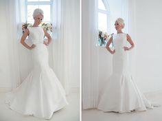 We love this sleek and structured fishtail wedding dress because it is so simple, yet still makes just as much of a statement as any other elegant bridal look. The low V-back and leather belt add sophistication and a modern twist to what is a classic and stylish design.