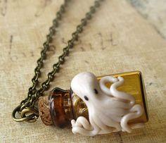 Octopus Vial Necklace, Cameo Necklace, Skull Cameos, Gothic Necklaces, Horror Necklaces, Psychobilly Necklaces, Goth Necklaces, Ribcage Necklaces, Punk Rock Neclaces, Punk Necklaces Jewelry $17.99