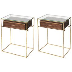 Pair of Floating Drawer Side Table, Bedside Table | From a unique collection of antique and modern end tables at https://www.1stdibs.com/furniture/tables/end-tables/