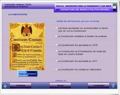 """""""Estructura del modelo político español"""" es una aplicación, publicada por la Junta de Extremadura, en la que la interacción es total para valorar el conocimiento de la estructura política de España, basada principalmente en la Constitución de 1978, que conmemoramos el día 6 de diciembre. Model, Constitution Day, Interactive Activities, Knowledge, December"""