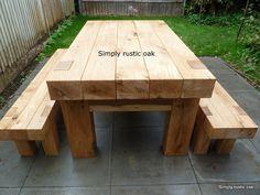 Rustic Oak Beam Garden Table 2