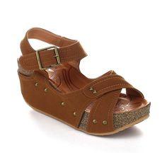 5b1e45e48fd Forever Freya-23 Womens Cork Look Platform Ankle Strap Low Wedge Sandals