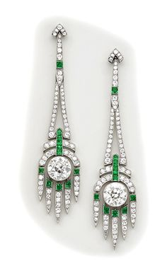Art Deco Diamond, calibré emerald and platinum drop earrings.