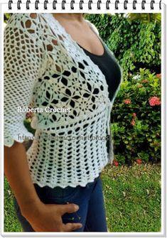 ✿.¸¸.✻Minhas Artes em Cr✿chê.¸¸. Roberta Crochet ✻.¸¸.✿:      Blusa de manga três quarto! https://www.faceb...