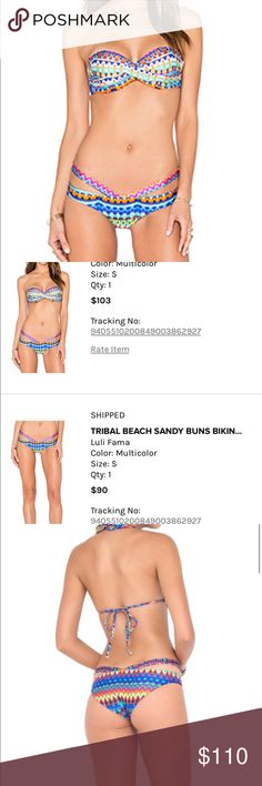 LuLi Fama tribal bikini size S This bikini will be sold in a set. It was worn once when I was in Punta Cana. No trades please. Price firm. Luli Fama Swim Bikinis