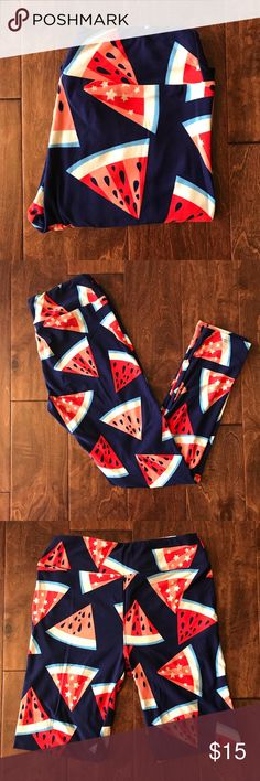 LLR OS Leggings NWOT, never washed or worn.  These watermelon leggings scream Summer fun!  The watermelon slices are all over on a navy background. LuLaRoe Pants