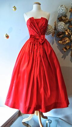 1950's cherry satin party dress (Xtabay Vintage Clothing Boutique - Portland, Oregon)