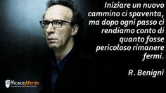 Start a new journey scares us, but after each step we realize how dangerous it was standing still. - Roberto Benigni -Adesso mi cambio e vado Bff Quotes, Love Quotes, Motivational Quotes, Inspirational Quotes, Wisdom Quotes, Einstein, Cogito Ergo Sum, Serious Quotes, Italian Quotes