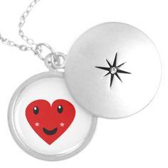 Star faced hearts necklace you can   customize  http://www.zazzle.com/abundancelovetrip #Kawaii #art #cute #whimsy #whimsical #Jewelry #Locket   kawaii art by Valerie                      $29.95