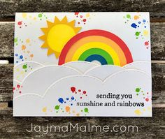 Process Video: Rainbow Card Using Cricut, Die Cuts & Stamping | Free Cricut Design Space File #cricut #rainbow #diecuts #sun #cards #clouds #stamping