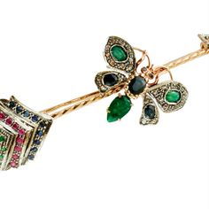 Diamonds, Rubies, Emeralds, Sapphires, 9 Karat Rose Gold and Silver Arrow Brooch Emeralds, Vintage Brooches, Blue Sapphire, Clarity, Arrow, Diamonds, Butterfly, Rose Gold, Silver
