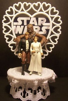 STAR WARS PRINCESS LEIA HAN SOLO CHEWBACCA WEDDING CAKE TOPPER FUNNY