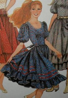 YA-HOO! Misses Country Western, Square Dance Dress Sewing Pattern UNCUT B 34