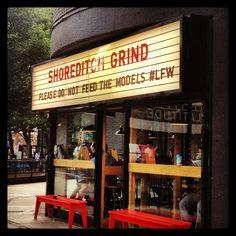 Shoreditch Grind coffee house #humour Best Coffee Shop, Coffee Shops, Coffee London, London Brands, File Organization, Coffee Culture, Oxford Street, Cafe Restaurant, Kiosk