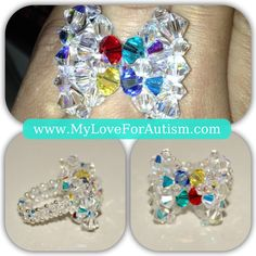 Swarovski Crystal Autism Awareness 'Bow Tie Ring' available only at www.MyLoveForAutism.com