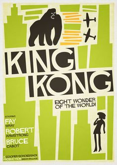 king kong, in the style of Saul Bass