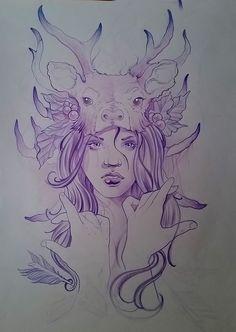 #dibujo #drawing #mujer #woman #cabello #hair #manos #hands #cuernos #horns #ciervo #deer