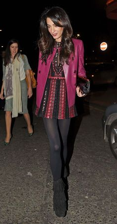 Amal Clooney in Valentino... Love the boots! Steal her look with our fringed Kristin Cavallari Charm booties ;)