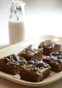 Paleo Caramel Brownies  brownie recipe: http://www.elanaspantry.com/paleo-brownies/  caramel sauce recipe: http://www.elanaspantry.com/vegan-caramel-sauce/  chocolate ganache recipe: http://www.elanaspantry.com/chocolate-ganache/
