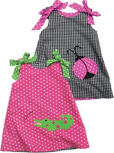Kelly's Kids reversible alligator & ladybug dress--cute and preppy, next summer? Sewing Kids Clothes, Sewing For Kids, Baby Sewing, Little Dresses, Little Girl Dresses, Sun Dresses, Toddler Outfits, Kids Outfits, Kids Wear